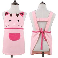 Cute Girls Kids Toddler Cartoom Cat Embroidered Apron Cotton Children Apron Chef Kitchen Cooking Baking Apron for Kids 2-4 Years Old (Pink)