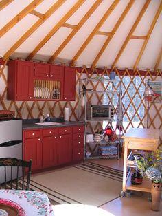 Yurt interior.