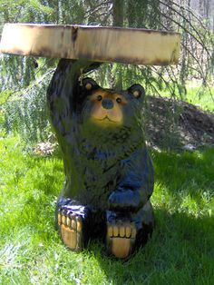 Chainsaw Carved Bear End Table , functional and cute!