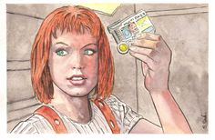Leeloo from Fifth Element Watercolor painting  Original painting (and many others) for sale at my Etsy store…  http://www.etsy.com/shop/ScottChristianSava