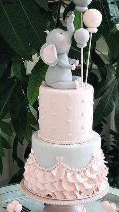1st Birthday Cake For Girls, Creative Birthday Cakes, Beautiful Birthday Cakes, Baby Birthday Cakes, Idee Baby Shower, Torta Baby Shower, Baby Shower Cookies, Shower Cakes, Beautiful Cake Designs