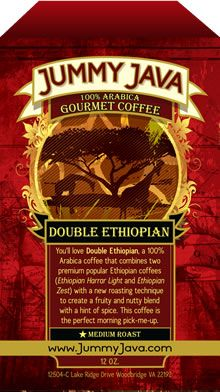 DOUBLE ETHIOPIAN: You'll love Double Ethiopian, a 100% Arabica coffee that combines two premium, popular Ethiopian coffees (Ethiopian Harrar Light and Ethiopian Zest) with a new roasting technique to create a fruity and nutty blend with a hint of spice. This coffee is the perfect morning pick-me-up. Roast Level: Medium