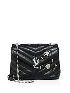 fc4a17b98309 Saint Laurent Saint Laurent Monogram Small Charm-Embellished Soft Matelassé  Leather Chain Shoulder Bag Chain