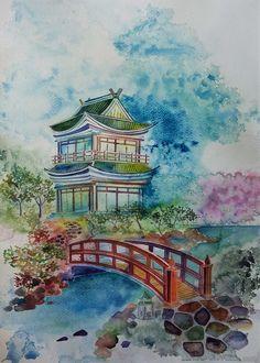 """""""Japanese Landscape"""", watercolour on paper, 31x41cm, 2016"""