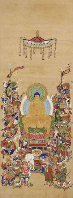 Image of Shaka and the Sixteen good deities.