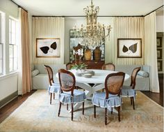 ASHLEY GILBREATH INTERIOR DESIGN: We love this dining room designed in soothing blues and neutral tones. An antique french chandelier and a trestle table keep things balanced so this space is formal without being fussy. Ashley Gilbreath, White Round Dining Table, Antique Dining Chairs, French Chandelier, Dining Room Design, Dining Rooms, Home Collections, Slipcovers, Designing Women