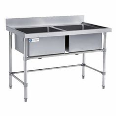 commercial used industrial workbench with double sink Commercial Restaurant Equipment, Industrial Workbench, Sink, Table, Furniture, Home Decor, Sink Tops, Vessel Sink, Decoration Home