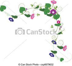 Vector Illustration Of Fantasy Garden Background Morning Glory