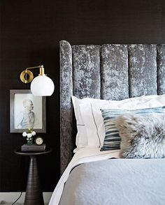 WEBSTA @ mydomaine - Nothing makes a bedroom as hibernation-worthy as black walls do. Double-tap if you're a fan of dark paint colors too.   photo: @brittanyambridge