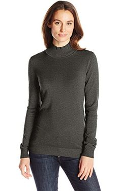 Calvin Klein Women's Essential Mock Neck Sweater, Heather Charcoal, S ❤ Calvin Klein Women's Collection