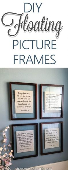 DIY Floating Frame Tutorial Reminders of God's Word in Our Home,DIY Floating Frame Tutorial Reminders of God's Word in Our Home Modern Accessories with Frame Types By placing your photos inside it, it is possible t. Floating Picture Frames, Picture Frame Crafts, Floating Frame, Picture Wall, Floating Shelves, Decorating With Pictures, Home Decor Pictures, Decorating Tips, Decorating Picture Frames
