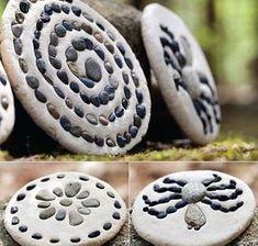 toole idee für kinder basteln_mosaikplatten selber machen mit kieselsteinen