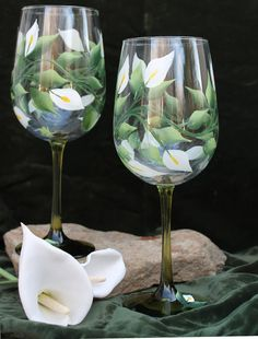 Hand Painted Wine Glasses Set of 2 Peace by SilkEleganceFlorals