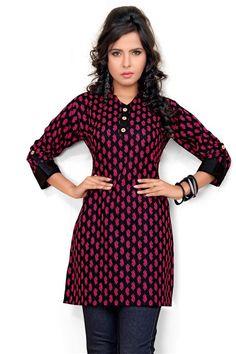 Elegant Black, Hot Pink Cotton Printed Kurti