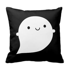 An adorably cute ghost pillow! The design of this pillow is really cool, since the kawaii ghost is happy on one side and sad on the other side! Halloween Decorations Apartment, Halloween Home Decor, Halloween Ghosts, Halloween House, Halloween Ideas, Happy Halloween, Halloween Bedroom, Halloween Pillows, Kawaii Illustration