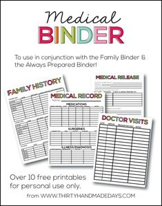 Medical Binder Printable from Thrifty Handmade Days and Take a look at these 20 Must Have Home Printables to get you Organized for the New Year on Frugal Coupon Living.