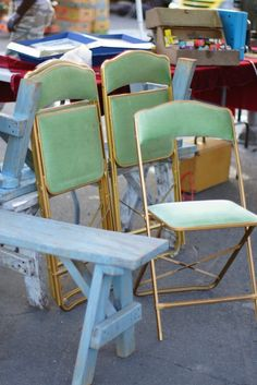 Four green velvet folding chairs from the 50's.