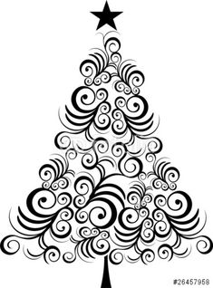 "Christmas tree black outline"" Stock image and royalty-free vector ..."