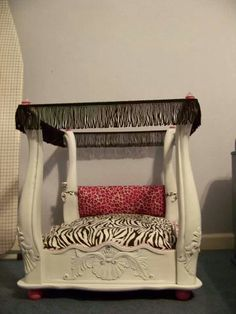 Flip a small end table or any small table into a fabulous dog bed