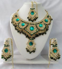 Indian Bollywood Style Kundan Diamante Necklace Set Fashion Jewelry ECL T9000 | eBay