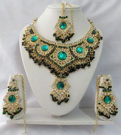 Indian Bollywood Style Kundan Diamante Necklace Set Fashion Jewelry ECL T9000   eBay