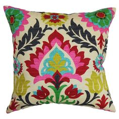 Multicolor cotton pillow with a tribal damask motif and down insert. Made in the USA.   Product: PillowConstruction...
