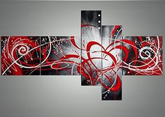 Globalartwork- Handpainted 5 Piece Black White Modern Abstract Oil Paintings on Canvas Peacock Pictures Wall Art for Living Room (red)