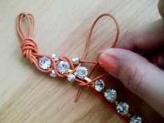 DIY wrapped rhinestone bracelet