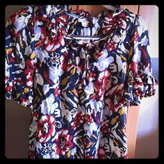 Anthropologie Blouse by Odille Colorful blouse that is so cute with jeans or skirts!  100% rayon-machine wash cold.  Great condition! Anthropologie Tops Blouses