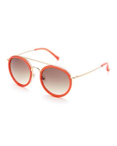 Dries Van Noten X Linda Farrow Red & Gold-Tone DVN52 Round Sunglasses