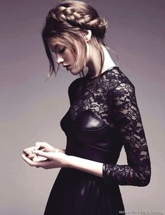 """this is leather and lace i could go for: Montana Cox in """"Brave New Look"""" by Nicole Bentley for Vogue Australia Leather And Lace, Black Leather, Leather Corset, Fashion Fotografie, Looks Dark, Looks Style, Mode Style, Malta, Hair Inspiration"""