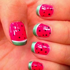 Watermelon finger nails