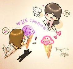 TaeNy ice cream fanart by Jujiir RPG #TaeNy #fanart