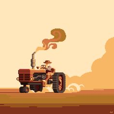 Tractor by Slynyrd Pixel Art Gif, Pixel Art Games, Graphic Illustration, Illustrations, Game Design, Design Art, Pixel Characters, 8 Bit Art, Weird Art