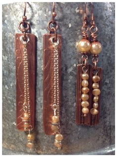 Etched copper earrings with small freshwater pearls. By LjBlock Designs