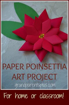 Paper Poinsettia Art Project. A plastic free alternative to Christmas gift bows! #Vocalpoint #Winter