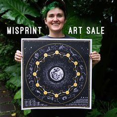 "v adams on Instagram: ""Happy new moon in Aquarius. Just posted misprints of my lunar calendars online on big cartel for $25! Misprints are small screen printing…"""