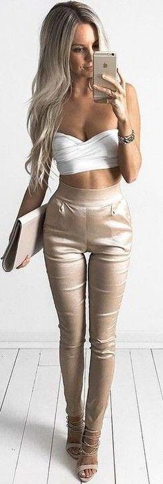 #summer #feminine #outfits | White Crop + Beige Pants