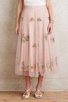 Embellished Tulle Midi Skirt - anthropologie.com