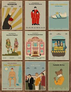 Movie Posters Discover Set of 9 Wes Anderson Minimalist Movie Posters - 16 x 12 Wes Anderson Style, Wes Anderson Films, West Anderson, Wes Anderson Poster, Wes Anderson Characters, Movie Poster Art, Poster S, Film Posters, Poster