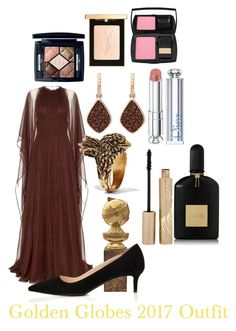 """""""Golden Globes 2017 Outfit"""" by andreamartin24601 on Polyvore featuring Valentino, Prada, H.Azeem, Christian Dior, Stila, Gucci, Tom Ford, Yves Saint Laurent and Lancôme"""