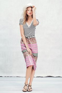 Another cute way to wear your staple striped shirt: with a glitzy skirt.