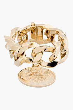 Givenchy Gold Curb-chain Medallion Bracelet