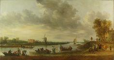 Jan van Goyen, Gezicht op de Vliet bij Voorschoten met huis Oostbos (Huys Roucoop), 1642, 131 x 252, Museum De Lakenhal, Leiden