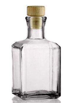 Skleněná hranatá lahvička se špuntem 250ml. Vhodná například na extrakty, šampony, dárky Wine Decanter, Barware, Wine Carafe, Glas