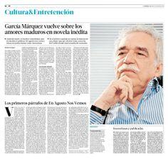 García Márquez vuelve sobre los amores maduros en novela inédita   Cultura&Entretención   La Tercera Edición Impresa