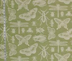 Bug fabric insect fabric green bug fabric butterfly fabric dragonfly fabric upholstery fabric home decor minimalist goth FREE SHIPPING  1 yd