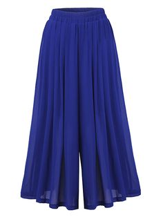 Solid Color Loose Pleated Wide Leg Pants For Women