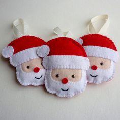 3 Felt Santa Handmade Ornaments by rosecottagedesignss on Etsy, £12.00