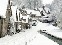 Arlington Row, Bibury, The Cotswolds, Gloucestershire in winter Arlington Row, Winter Magic, Winter Fairy, Voyage Europe, Winter Scenery, Snow Scenes, Winter Beauty, Winter Pictures, English Countryside